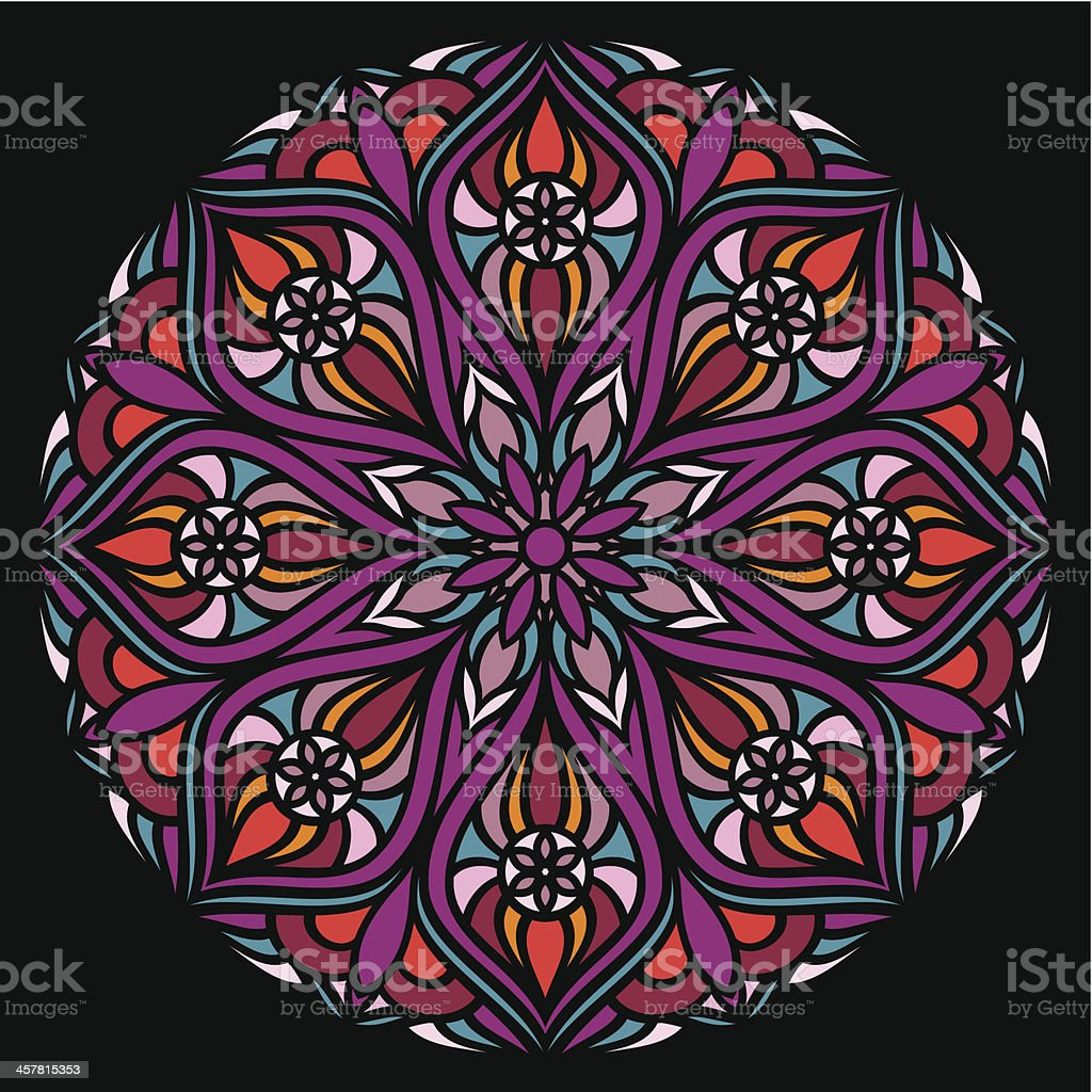Colorful ornamental round lace vector art illustration