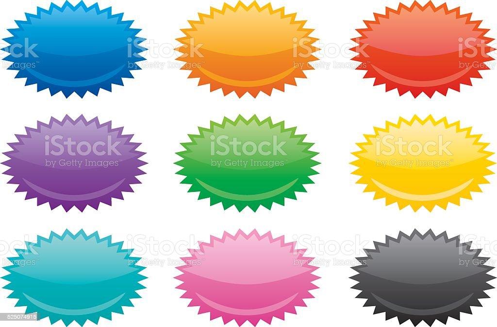Colorful Oval Emblems vector art illustration