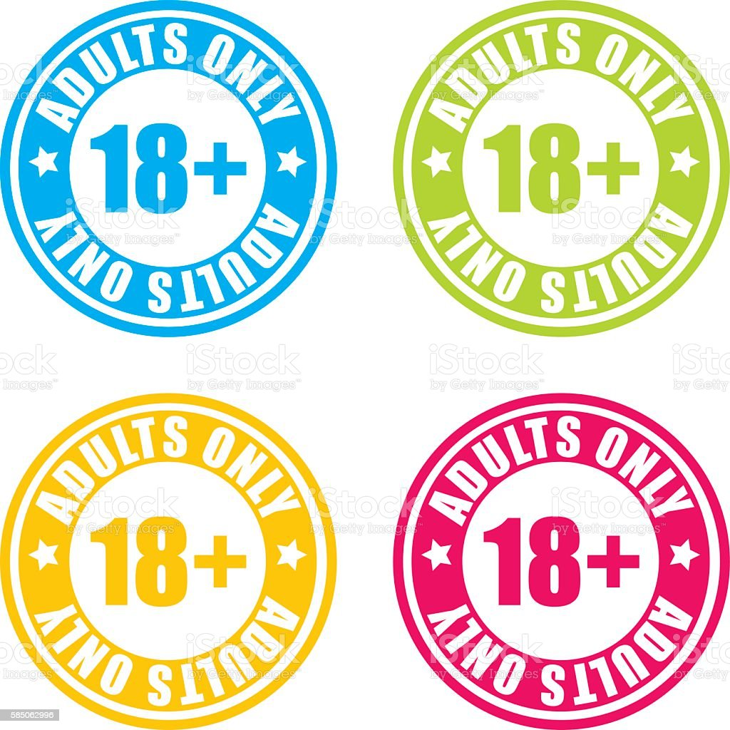 Colorful Over 18 Adults Only Stamp Labels vector art illustration
