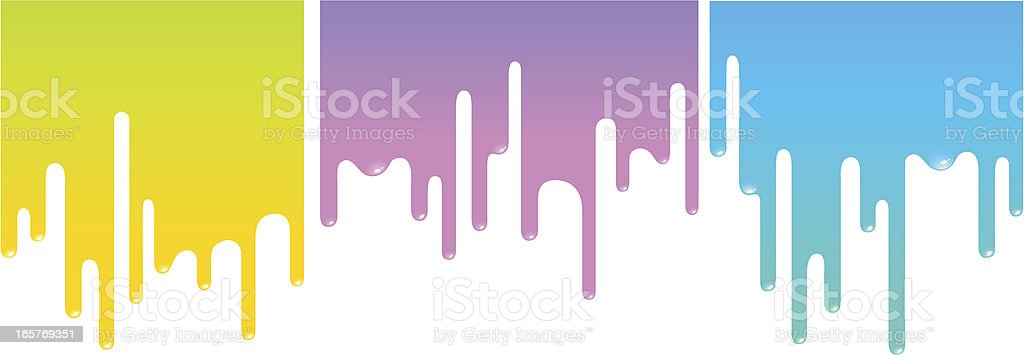 Colorful paint dripping on white background vector art illustration