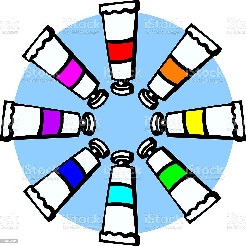 colorful paint tubes vector art illustration
