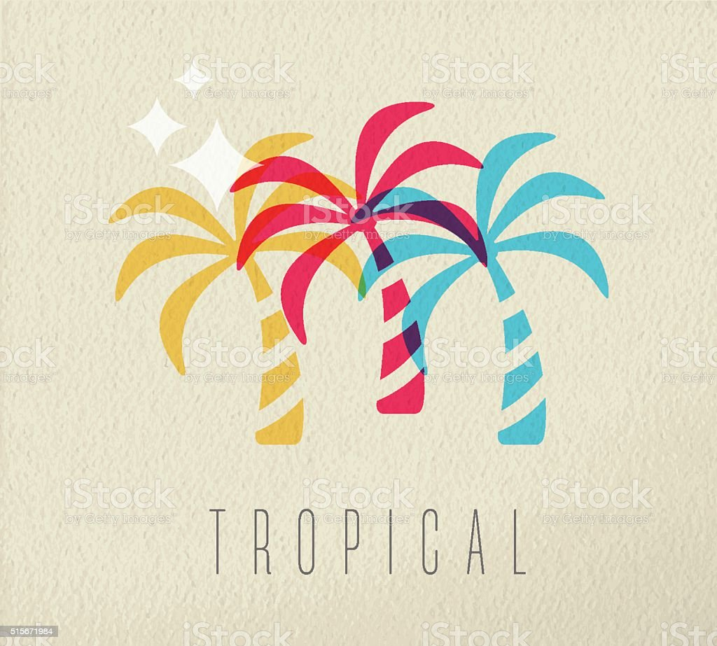 Colorful palm tree summer concept background vector art illustration