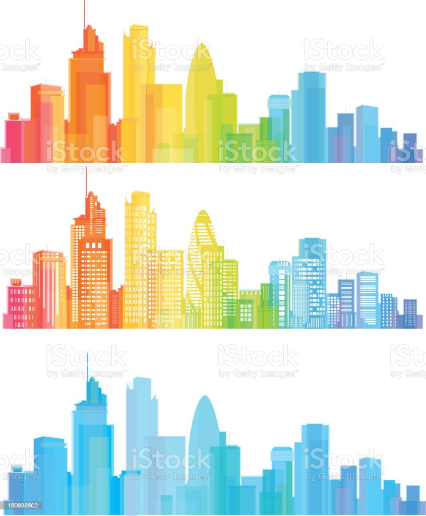 Colorful panorama of London city. vector art illustration