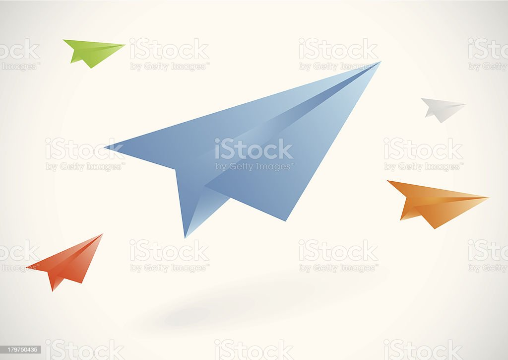 Colorful paper airplanes set royalty-free stock vector art