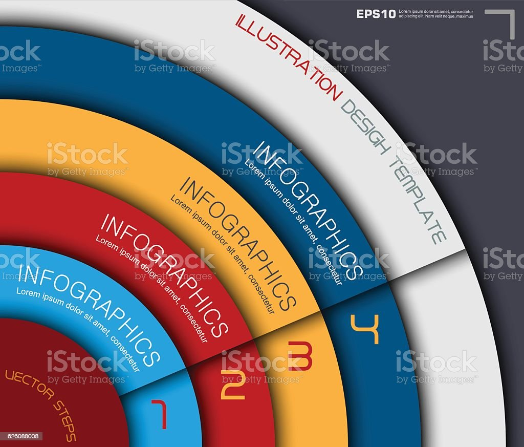 Colorful Paper Business Infographics in Circle Style vector art illustration