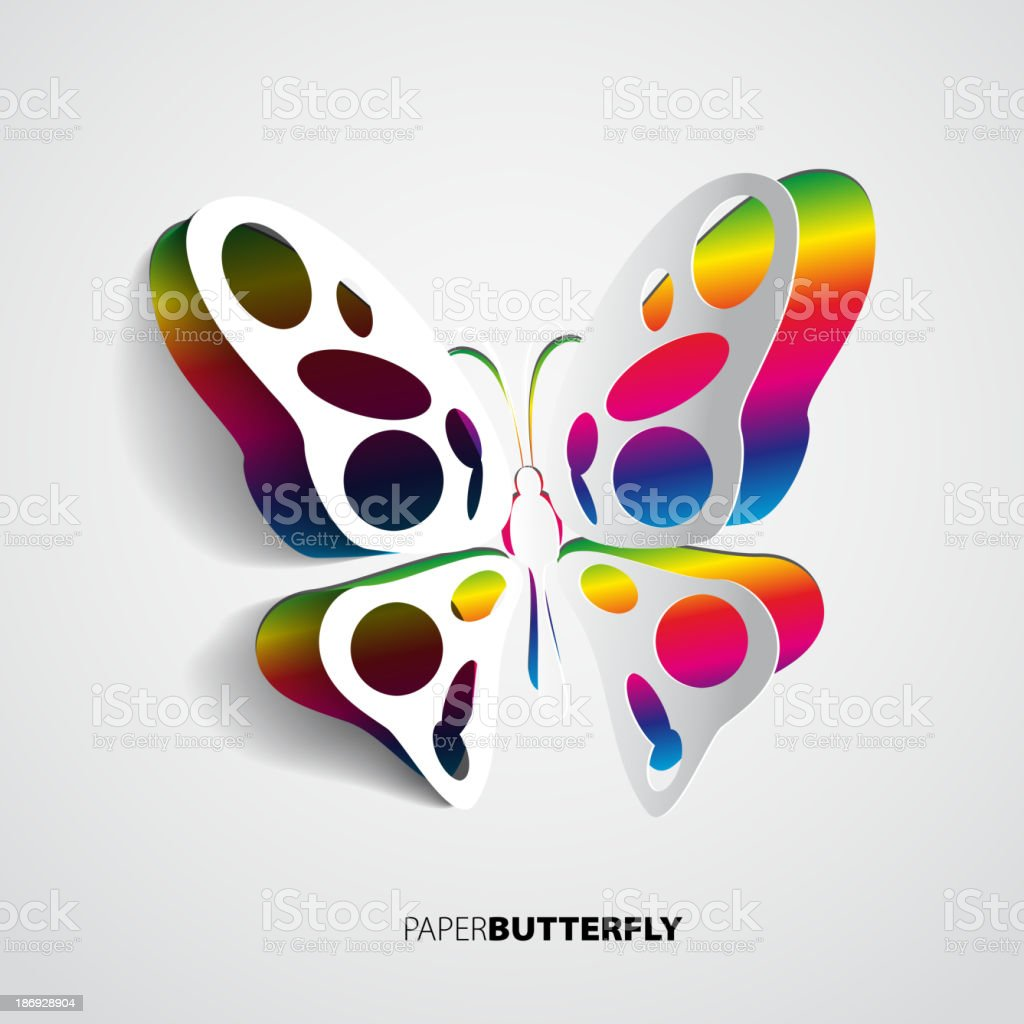 Colorful paper butterfly vector art illustration