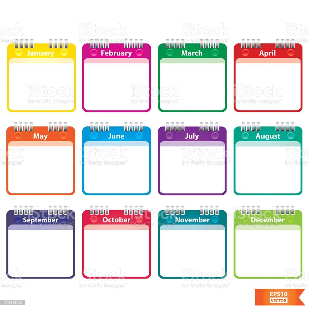 Colorful Paper Note with 12 month of the year. Eps10. royalty-free stock vector art