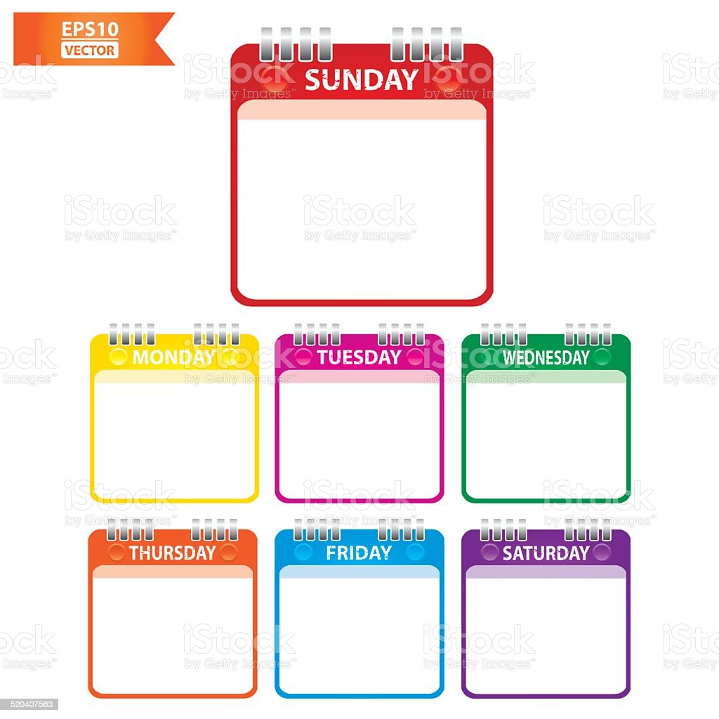 Colorful Paper Note with 7 days of the week. Eps10 royalty-free stock vector art