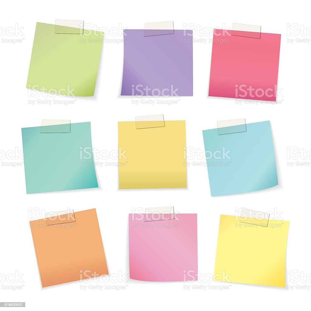 Colorful paper notes vector art illustration