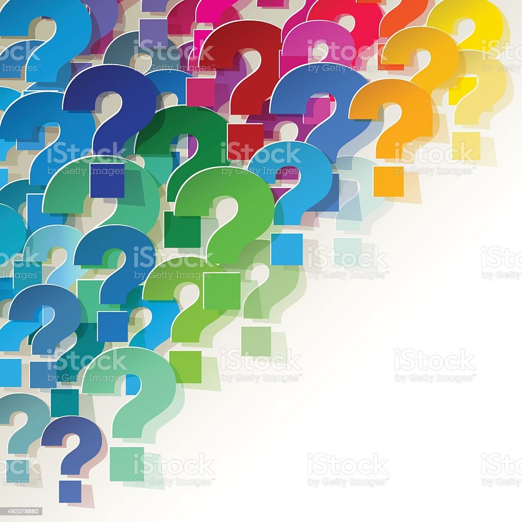 Colorful paper question marks in the corner on white background. vector art illustration