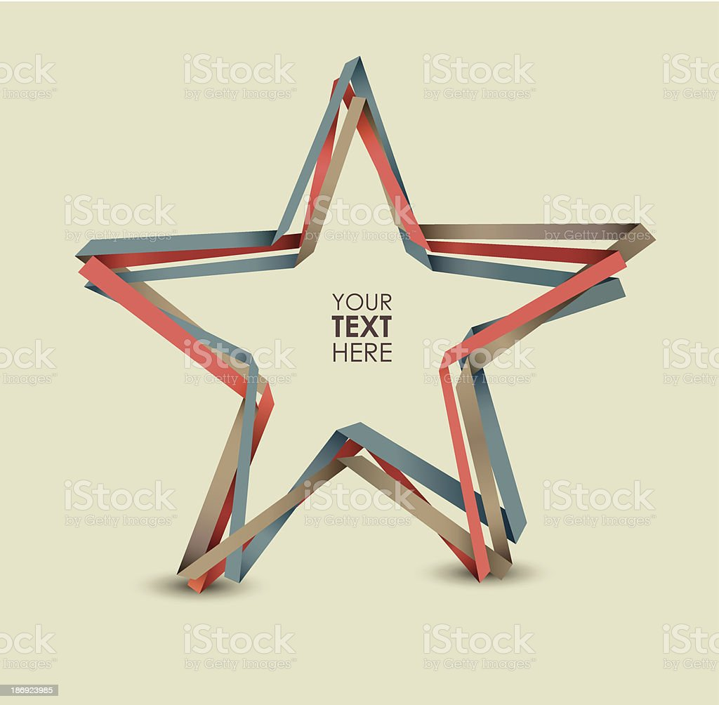 Colorful paper stripes shaping a star design royalty-free stock vector art