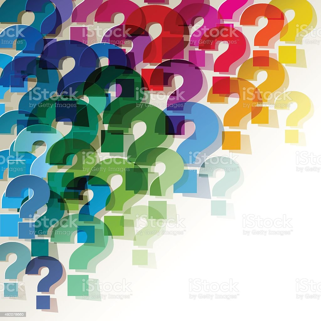 Colorful paper transparent question marks in corner on white background. vector art illustration
