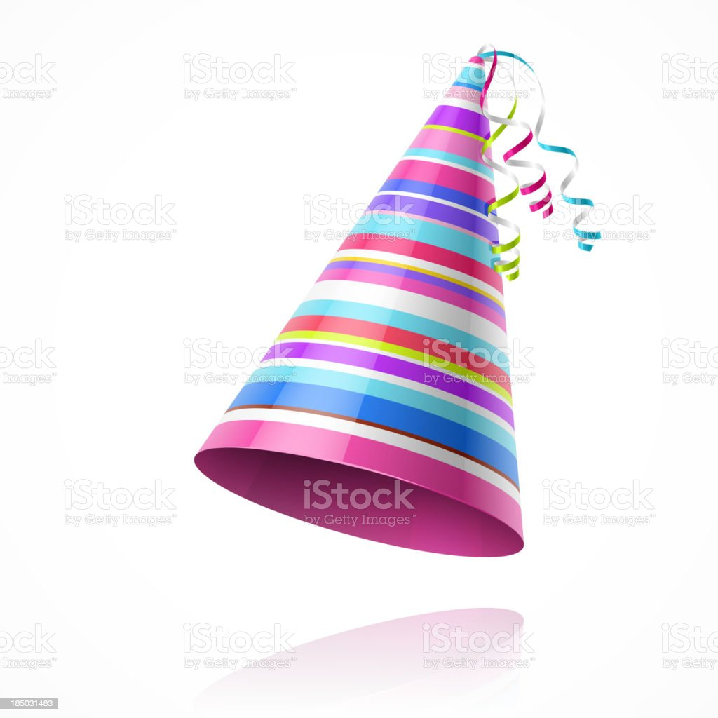 Colorful party hat isolated on white background vector art illustration