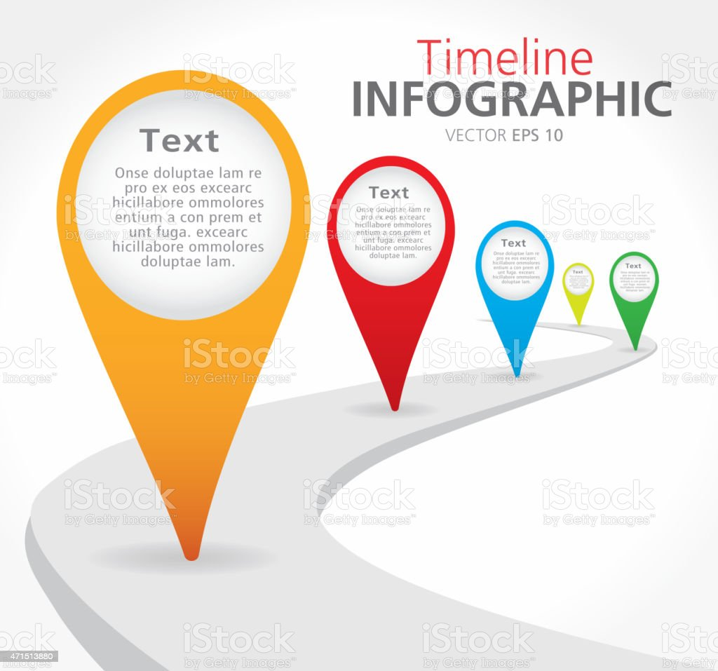 Colorful path Timeline infographic with graph comparison vector art illustration