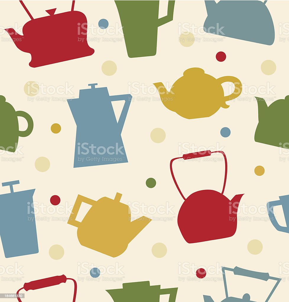 Colorful pattern with different teapots. Kettles backdrop royalty-free stock vector art