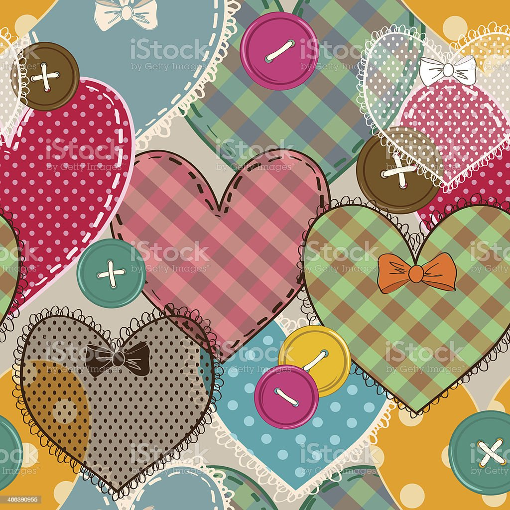 Colorful pattern with heart patchworks and buttons vector art illustration