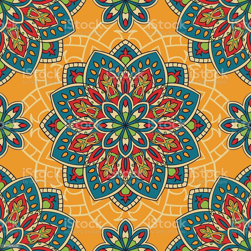 Colorful pattern with mandalas. vector art illustration