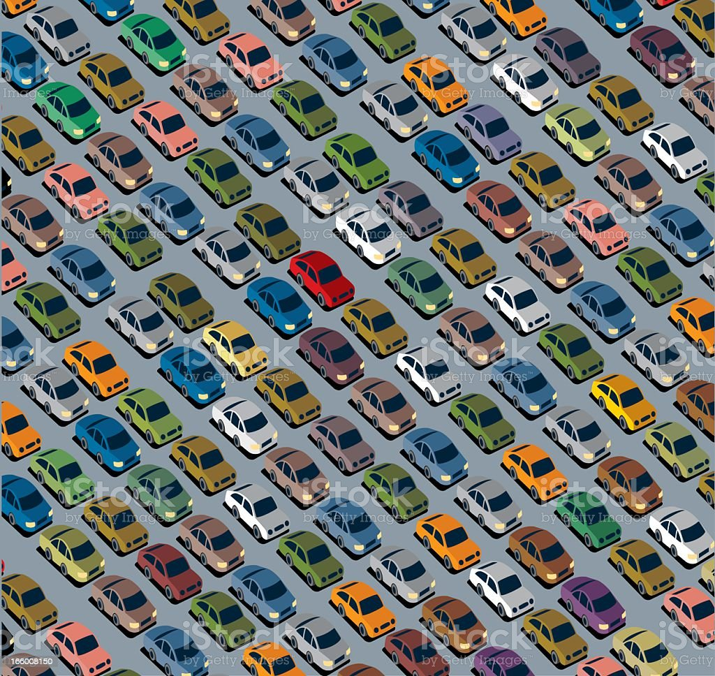 Colorful pattern with tiny cars on a gray background vector art illustration
