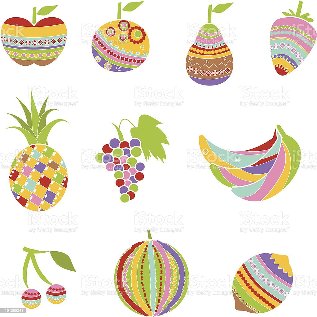 Colorful patterned fruits royalty-free stock vector art