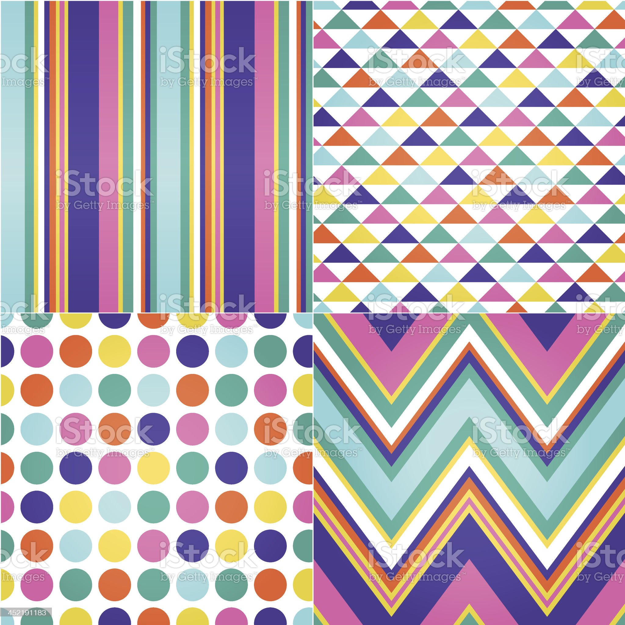 Colorful patterns of stripes, triangles, dots and zig zags royalty-free stock vector art