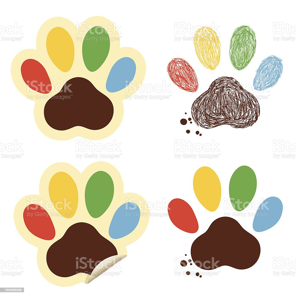 Colorful Paws royalty-free stock vector art