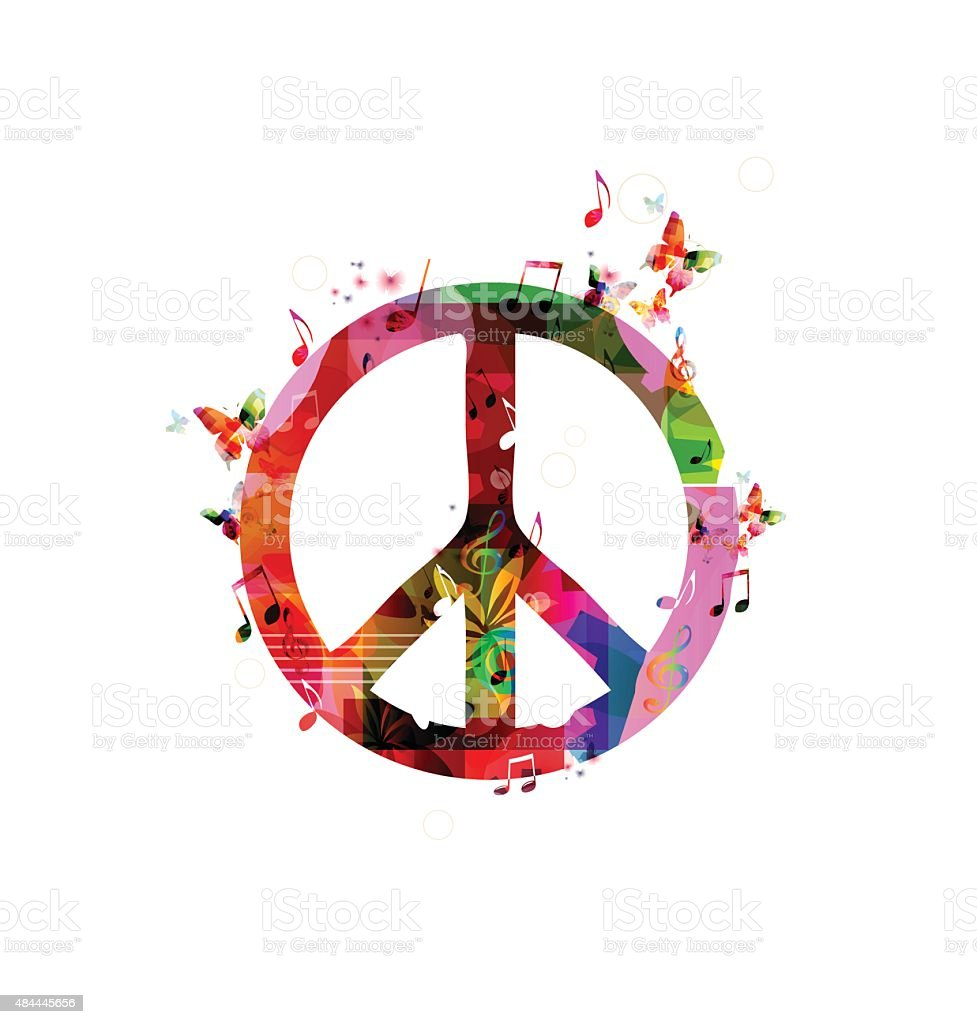 Colorful peace sign vector art illustration