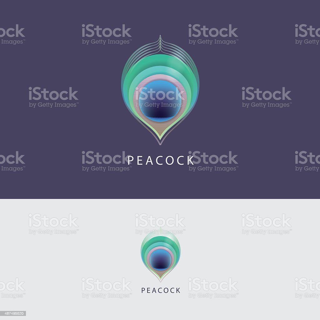 Colorful peacock feather design element mark vector art illustration