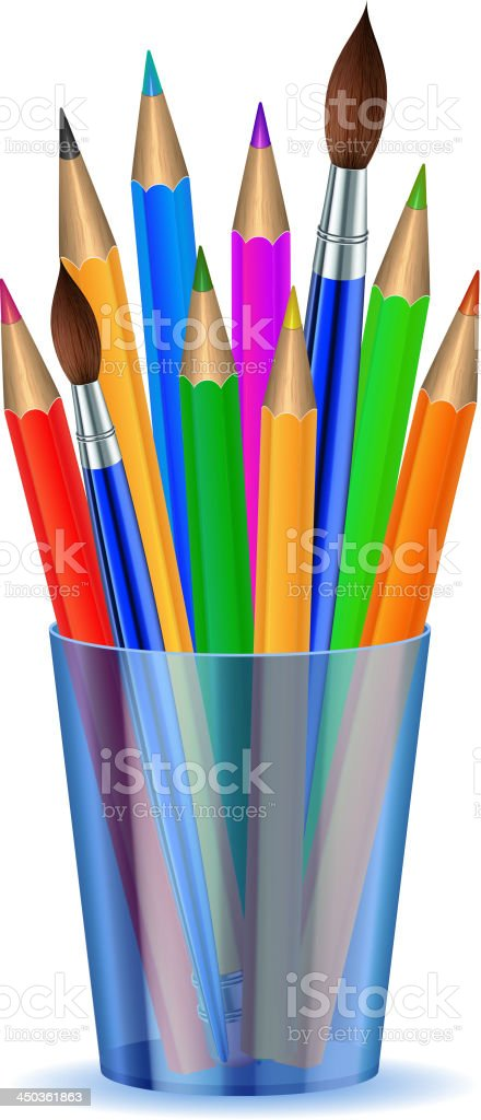 Colorful pencils and Brushes in the holder. vector art illustration