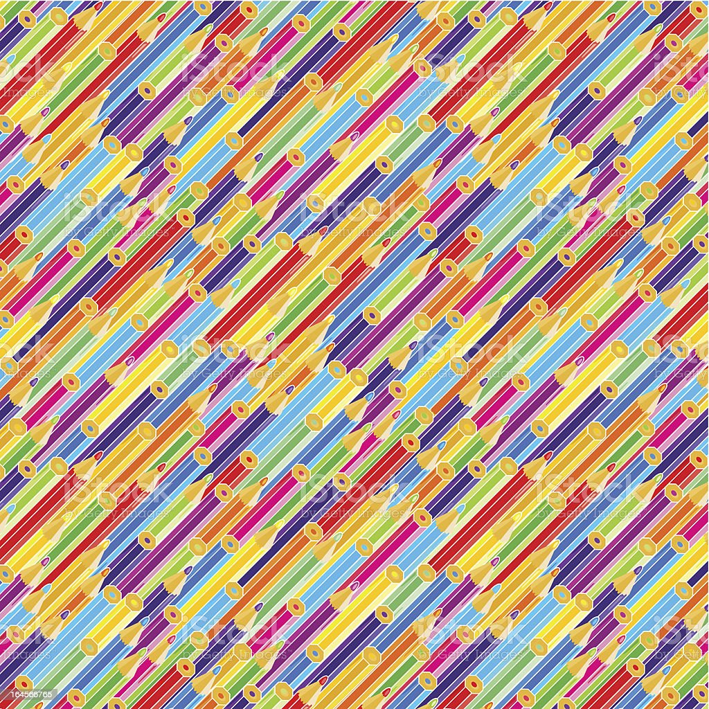 Colorful pencils background, seamless pattern included vector art illustration