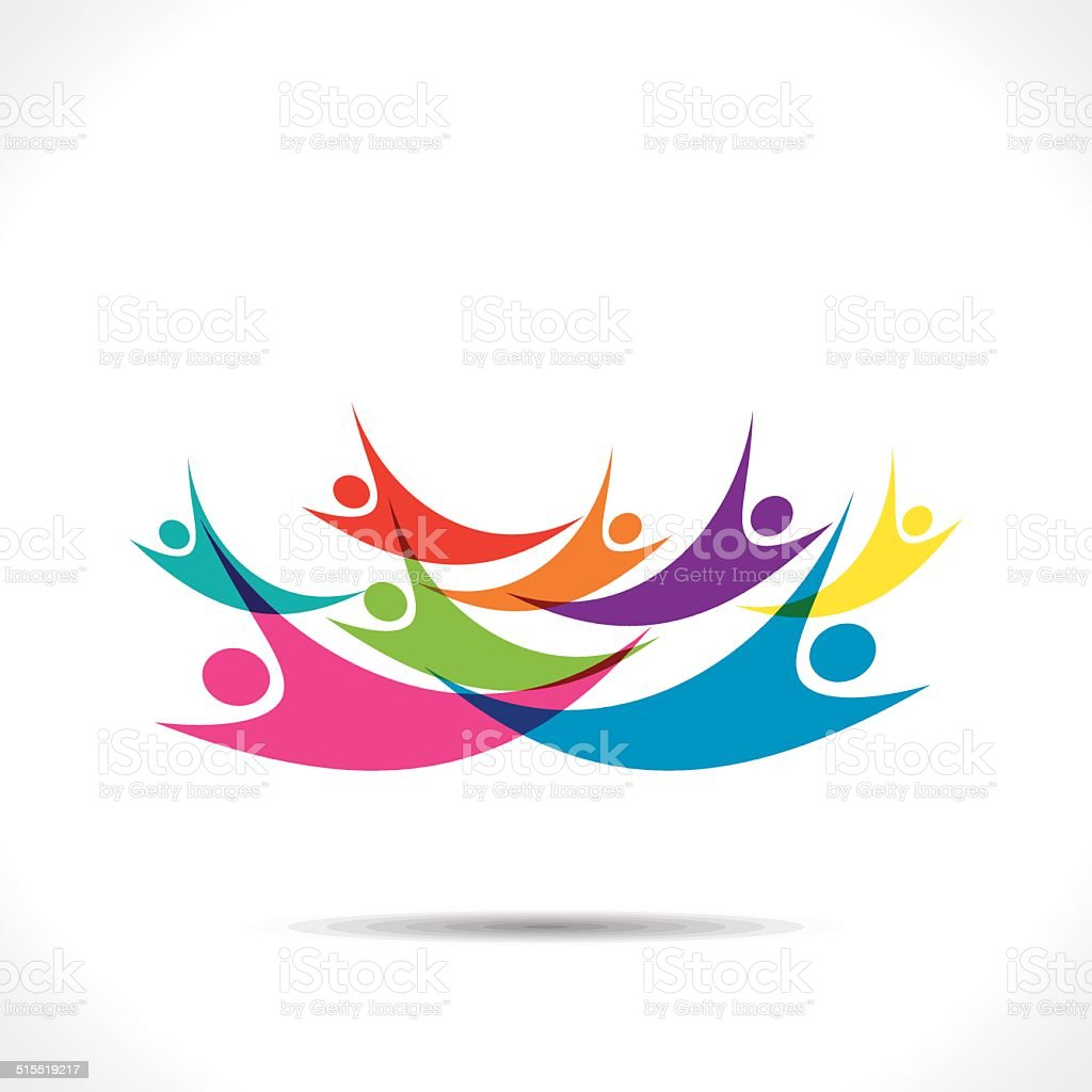 colorful people flying background vector art illustration