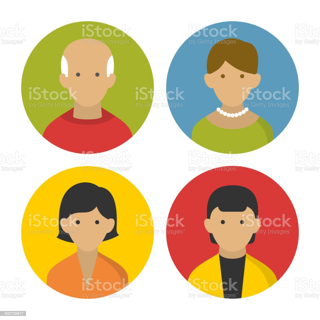 Colorful Peoples Userpics Icons Set in Flat Style. Vector royalty-free stock vector art