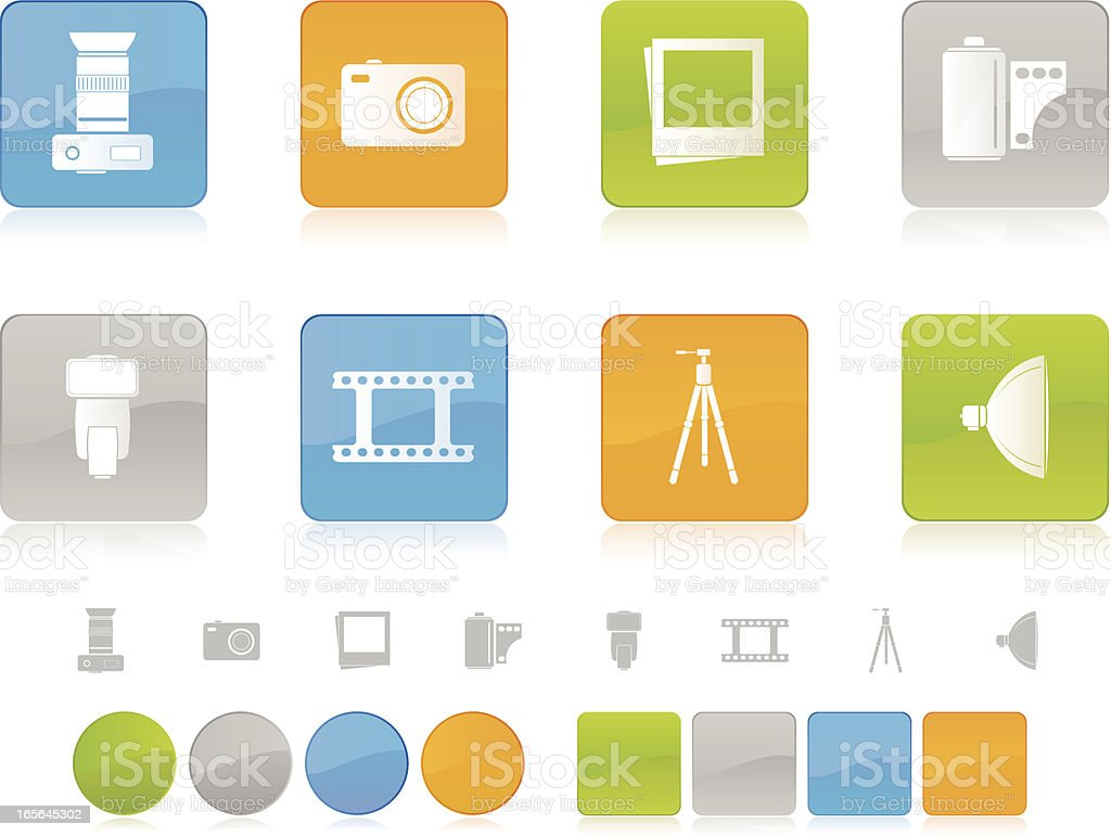 Colorful Photography Icons royalty-free stock vector art