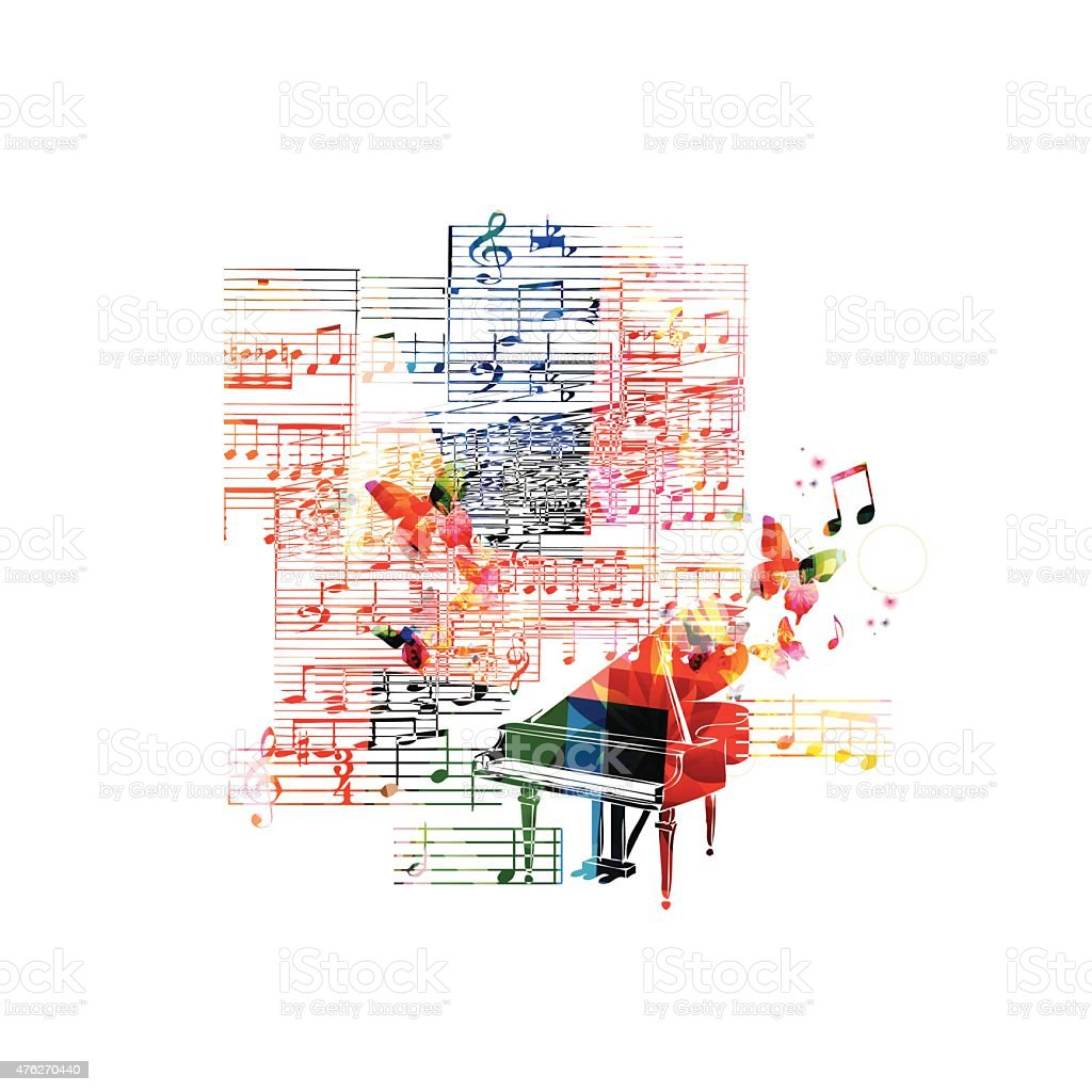 Colorful piano background vector art illustration