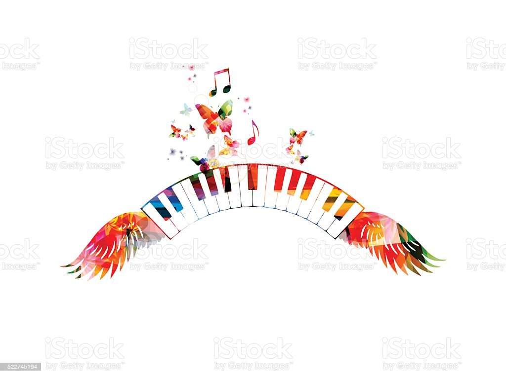 Colorful piano keyboards with wings vector art illustration