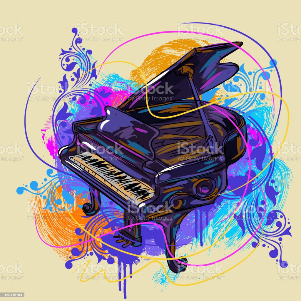 Colorful Piano vector art illustration