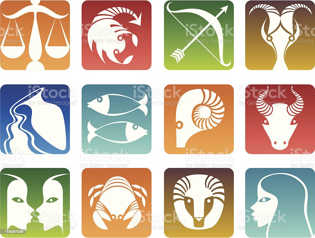 Colorful pictures of the zodiac signs royalty-free stock vector art