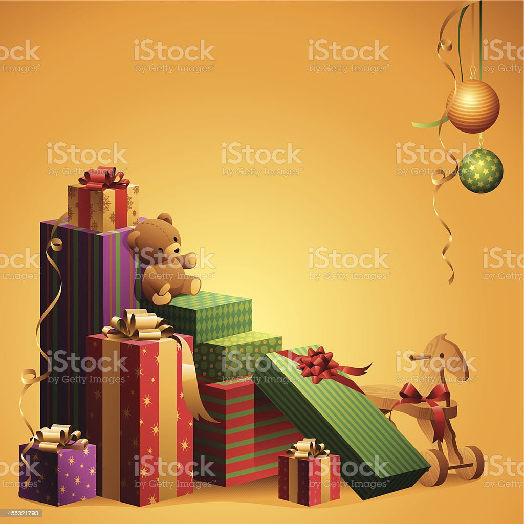 Colorful pile of Christmas gifts with decorations royalty-free stock vector art