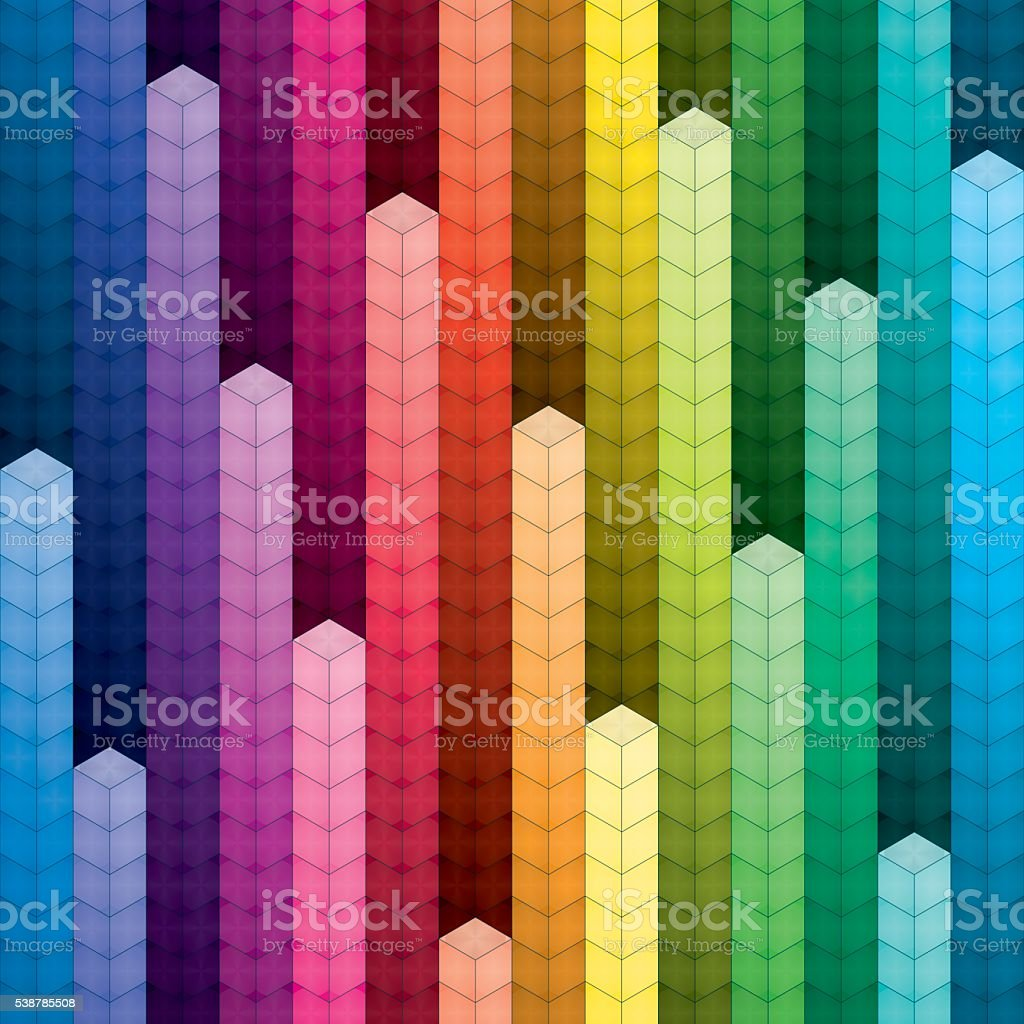 Colorful piles of cubes background vector art illustration