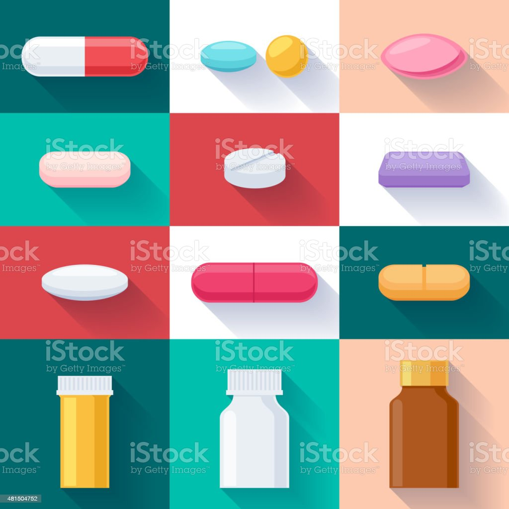 Colorful pills and bottles icons set. Flat style vector art illustration