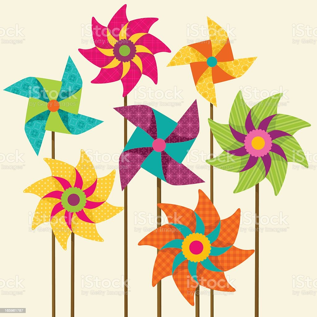 colorful pinwheels vector art illustration