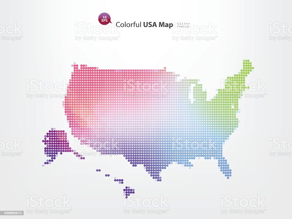 colorful pixels USA map vector art illustration
