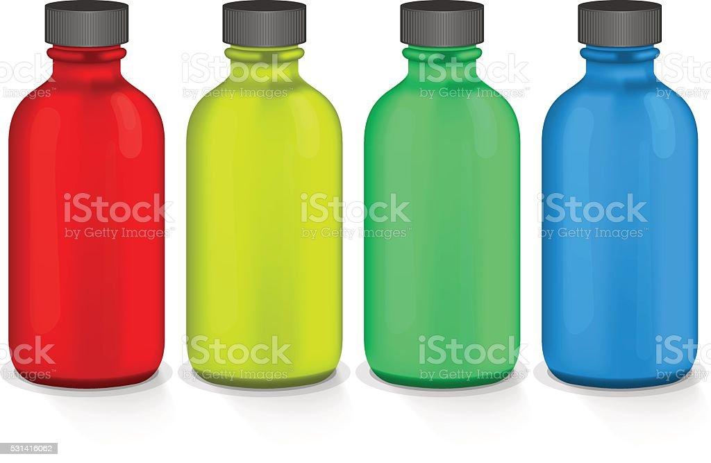 colorful plastic bottles vector art illustration