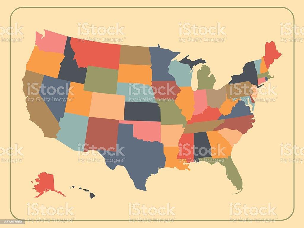 Colorful political USA map vector art illustration