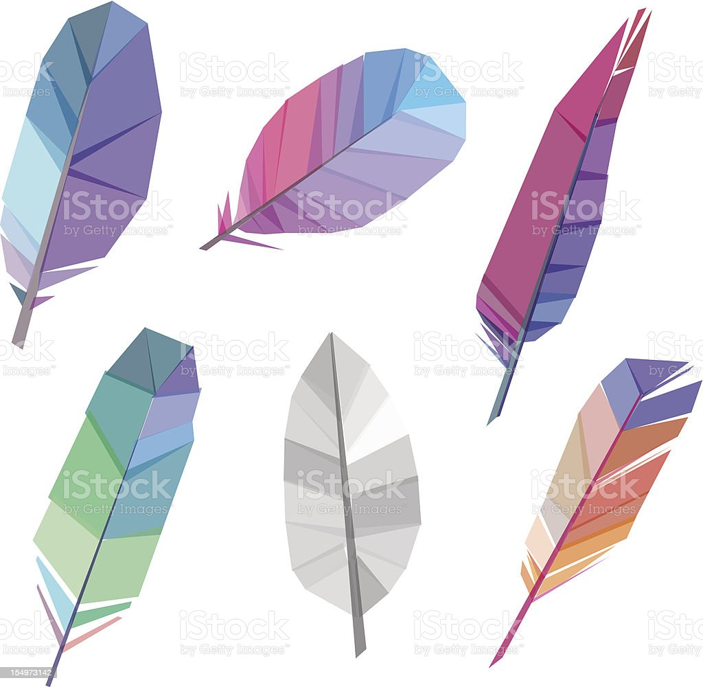 Colorful polygonal feather vector art illustration
