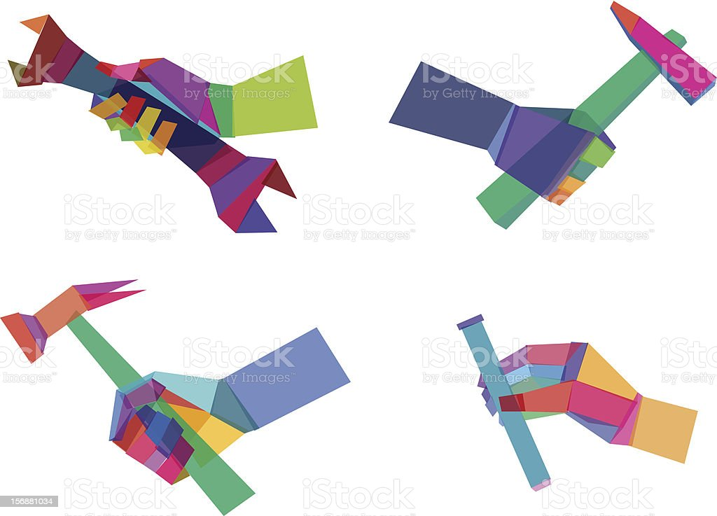 Colorful  Polygonal Hands royalty-free stock vector art