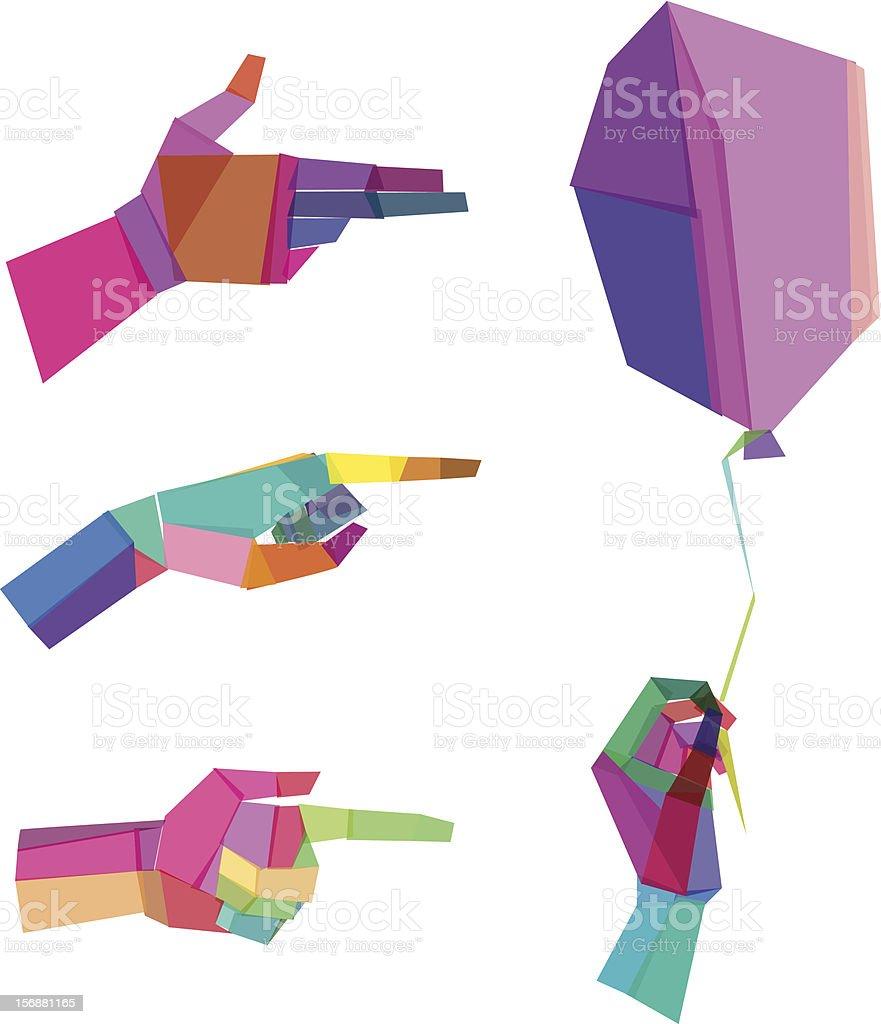 Colorful  Polygonal Hands vector art illustration