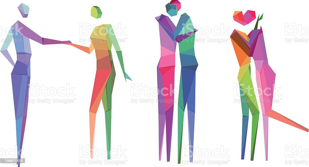 Colorful polygonal people sketches vector art illustration