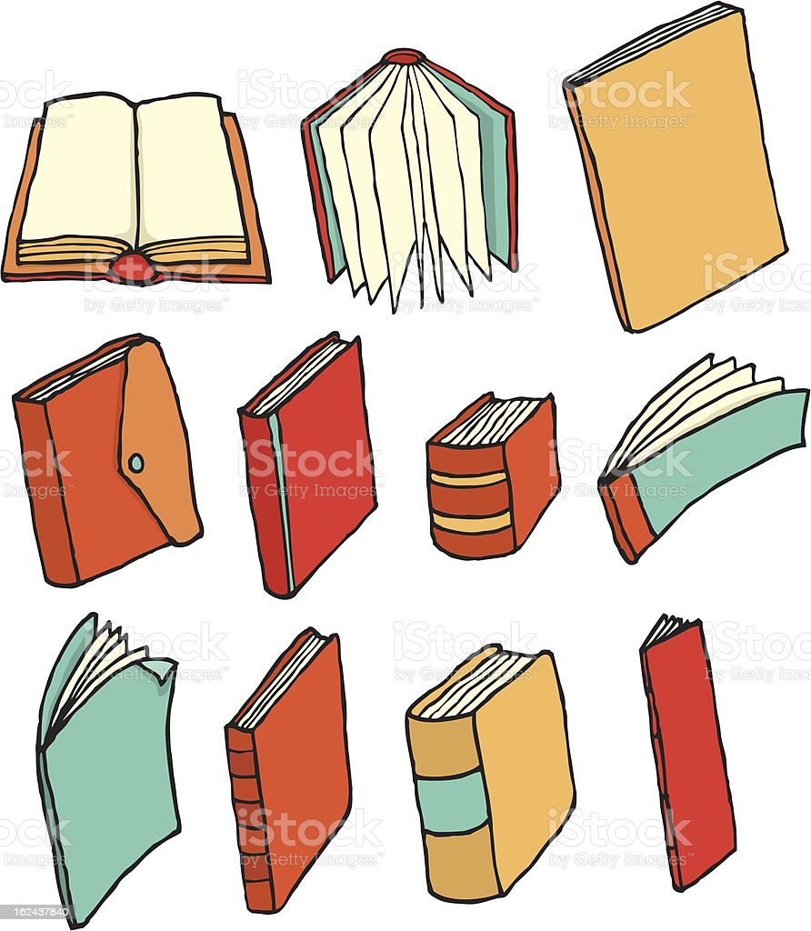 Colorful printed media / Book collection vector art illustration