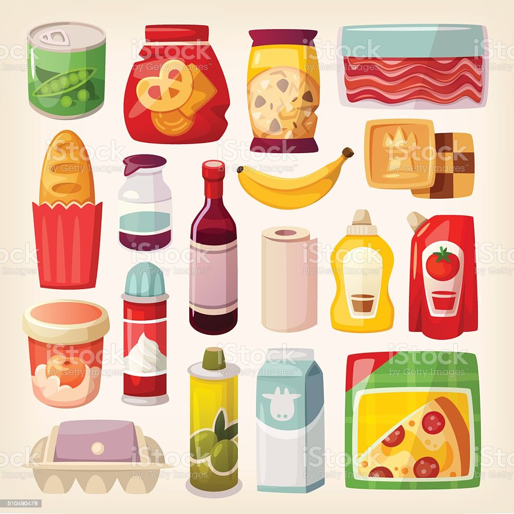 Colorful product icons vector art illustration