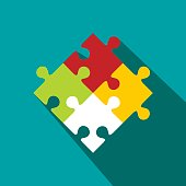 Colorful puzzle flat icon